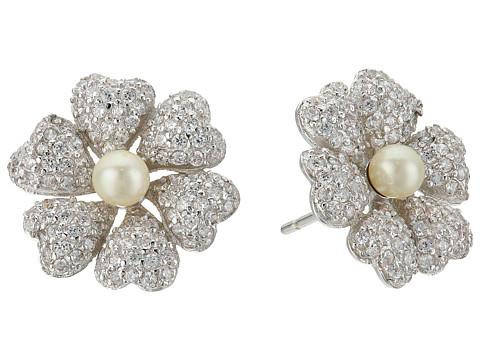 Nina Pluma Pearl Flower Earrings - Rhodium/Ivory Pearl/White CZ