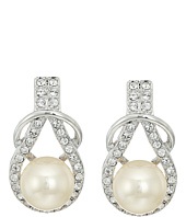 Nina - Alton Herculean Knot Pearl/Pave Earrings
