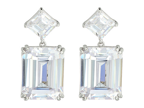 Nina Emery Double Drop Earrings - Rhodium/White CZ