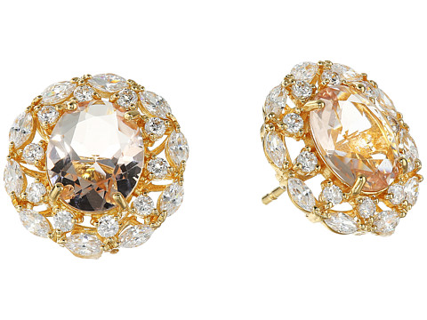 Nina Raven Crystal Stud Earrings - Gold/Champagne/White
