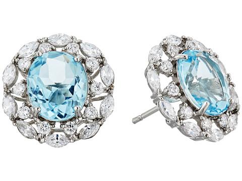 Nina Raven Crystal Stud Earrings - Pallad/Light Blue Topaz/White CZ