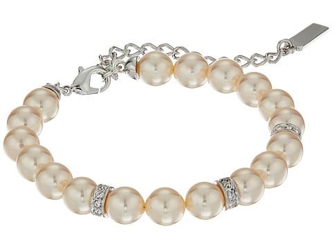 Nina Betha Pearl Bracelet w/ Crystal Spacers - Rhodium/Ivory Pearl/White Swarovski