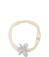 Nina - Ceola Triple Strand Pearl Necklace with Orchid Motiff