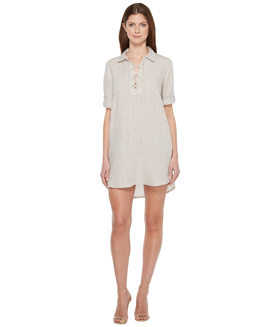 Allen Allen 3/4 Sleeve Tie Front Dress (Stone) Women