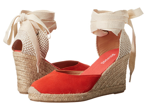 Soludos Tall Wedge - Fire Red