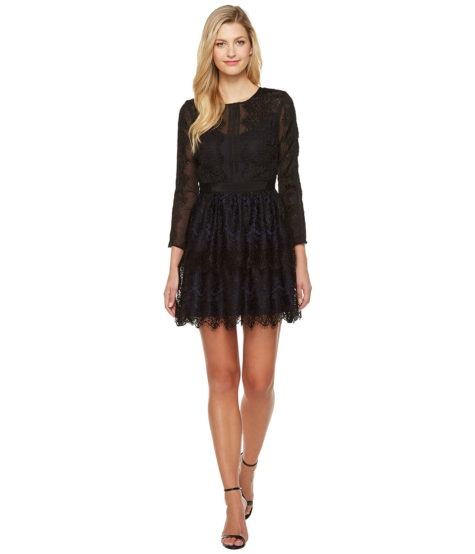 Adelyn Rae Suzanne Woven Lace Long Sleeve Fit and Flare (Black) Women