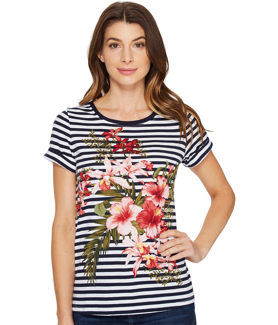 Tommy Bahama Sacred Groves Stripe Short Sleeve Tee (Ocean Deep) Women