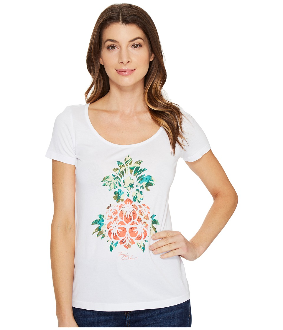 Tommy Bahama Floral Pineapple Short Sleeve Tee (White) Women