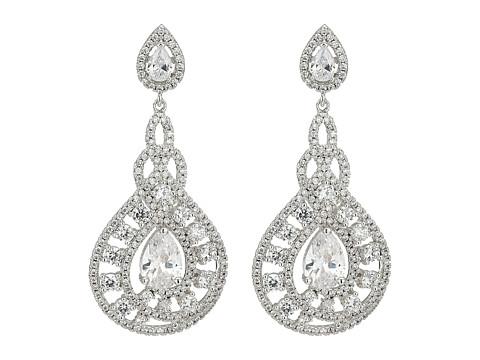 Nina Eppie Glamorous Statement Earrings - Rhodium/White