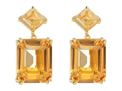 Nina Emery Double Drop Earrings - Gold/Champagne CZ