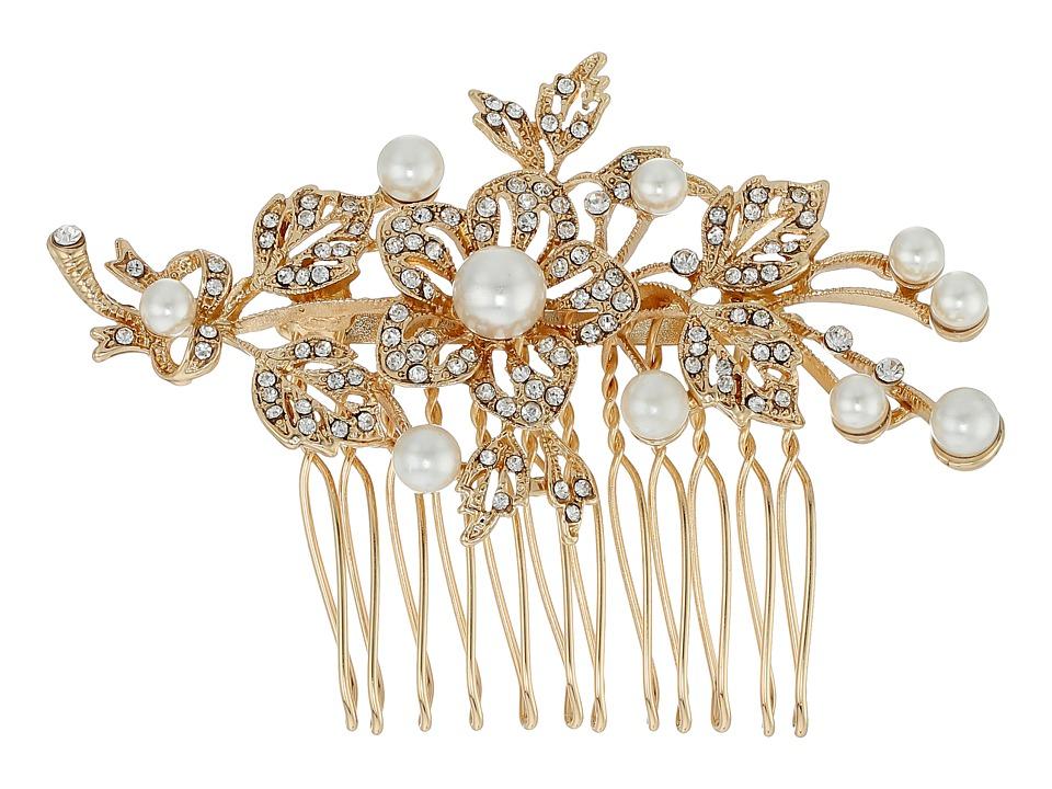 Nina - Lagos Crystal Pearl Floral Comb (Gold/Crystal) Hair Accessories