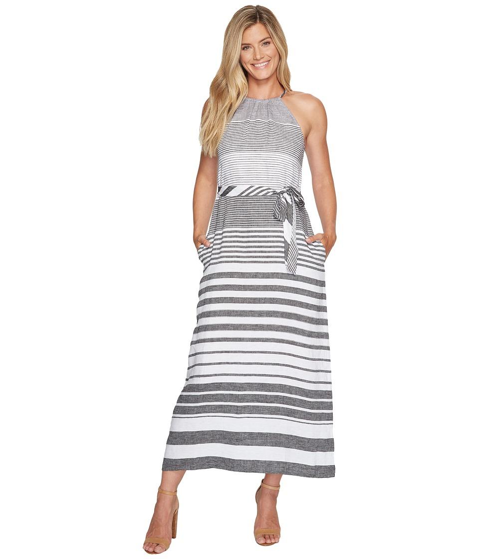 Tommy Bahama Opal Stripe Halter Maxi Dress (Black) Women