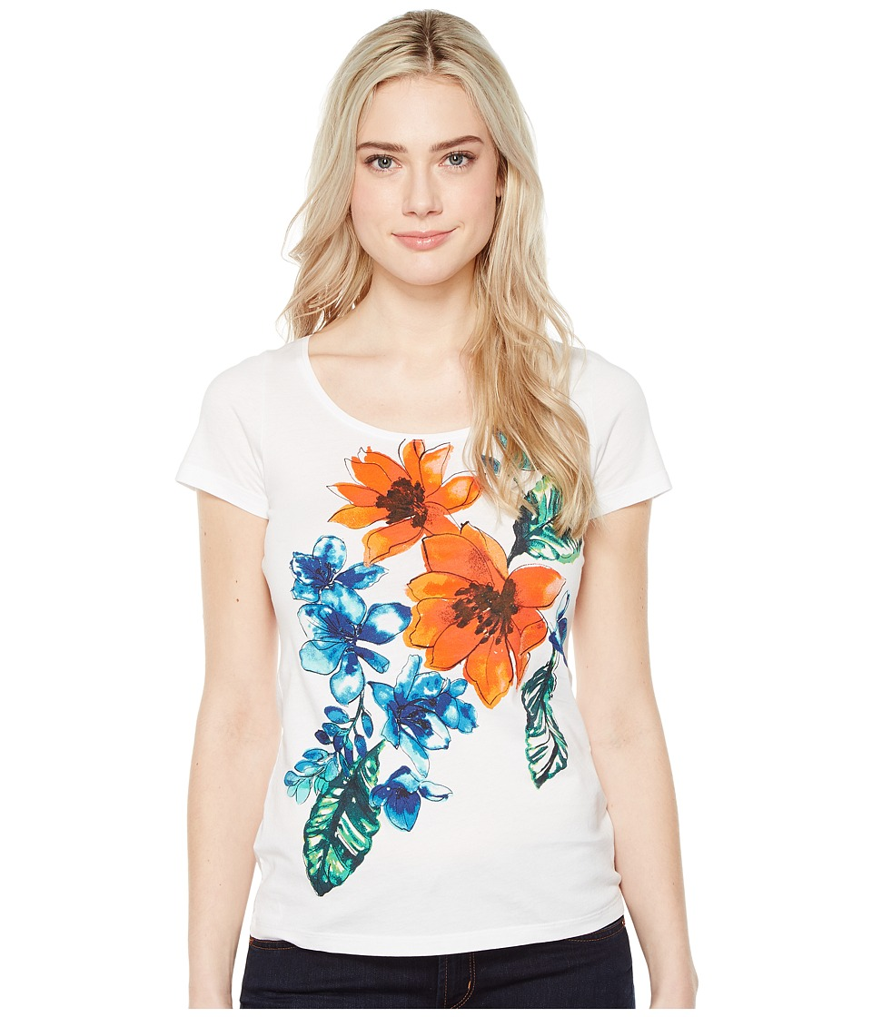 Tommy Bahama Celena Blooms Short Sleeve Tee (White) Women