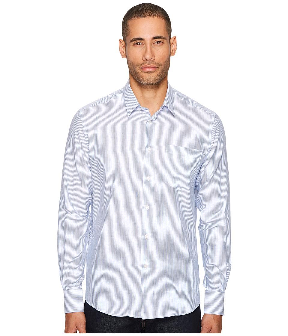 Vilebrequin Long Sleeve Striped Linen Button Down (Blue/White) Men