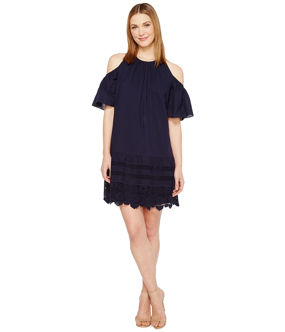 Maggy London Cold-Shoulder Shift Dress (Navy) Women