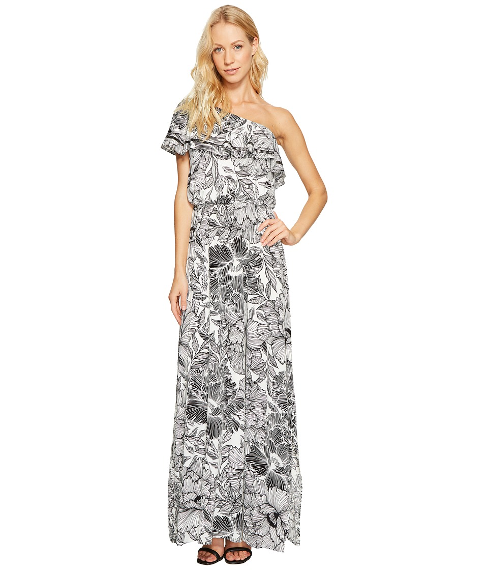 Maggy London One-Shoulder Ruffle Maxi Dress (Soft White/Black) Women