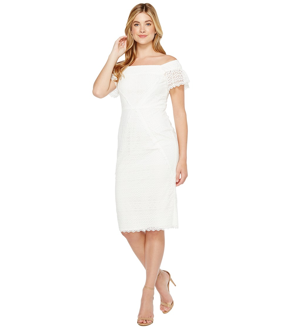 Maggy London Off the Shoulder Sheath Dress (White) Women