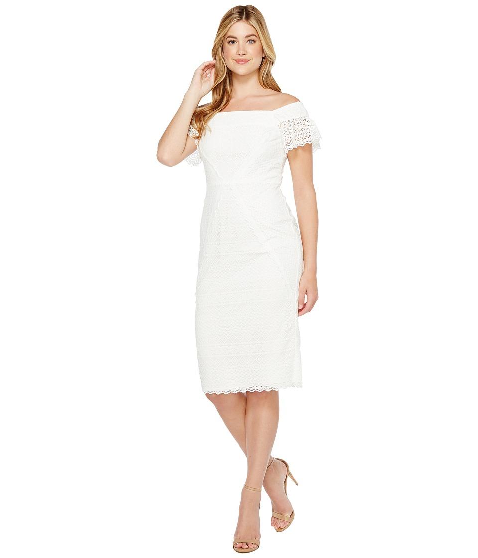 Maggy London Off the Shoulder Sheath Dress (White) Women