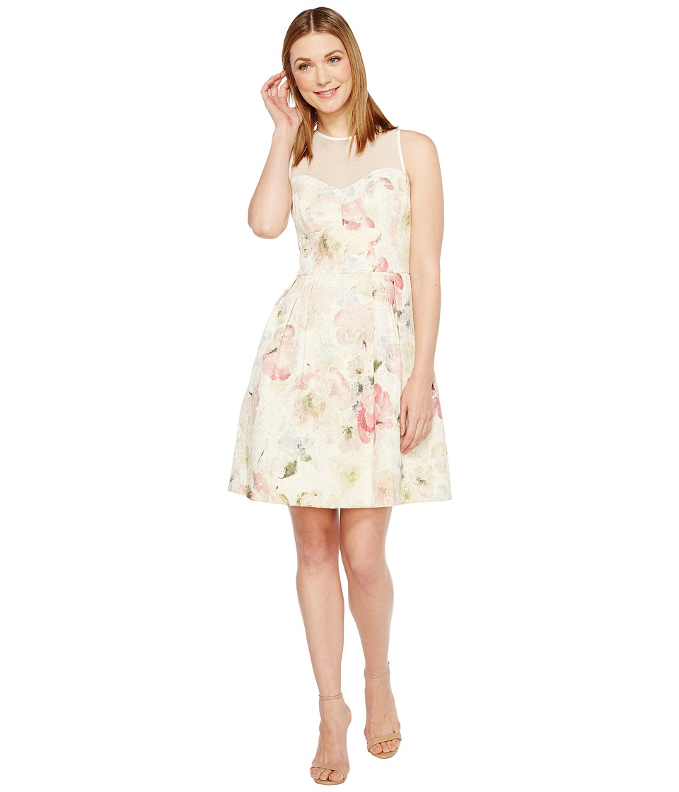 Maggy London Print Broccade Fit Flare Dress (Soft White/Multi) Women