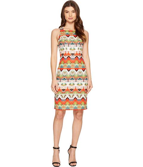 Maggy London Feather Ikat Stripe Square Neck Sheath Dress