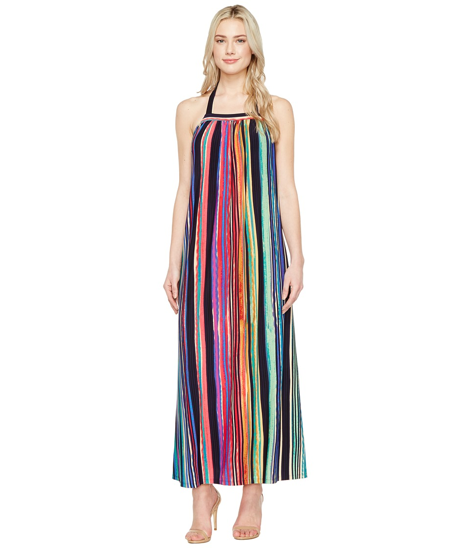 Maggy London Painted Stripe Maxi Dress (Taupe/Multi) Women