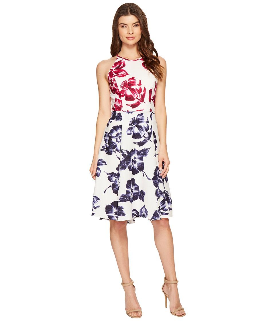 Maggy London Drapey Linen Sketch Blossom Hi-Lo Fit Flare Dress (White/Flambe) Women