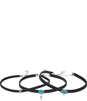 Steve Madden - Silver Turquoise Charms Choker Three-Piece Set