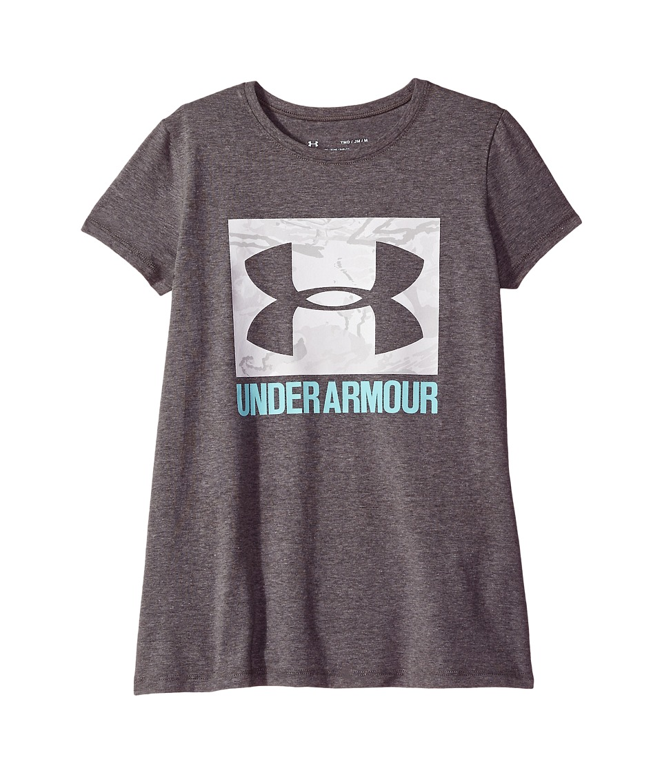 Under Armour Kids - UA Camo Fill Tee (Big Kids) (Charcoal Light Heather/Blue Infinity) Girls T Shirt