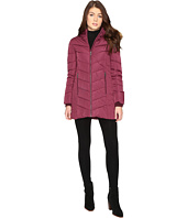 Tommy Hilfiger - Chevron Quilted Coat with Faux Fur Collar