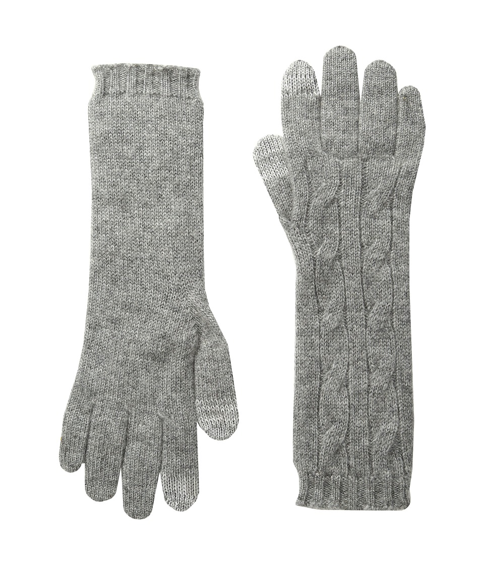 Polo Ralph Lauren Cashmere Cable Touch Gloves (Fawn Grey Heather) Extreme Cold Weather Gloves