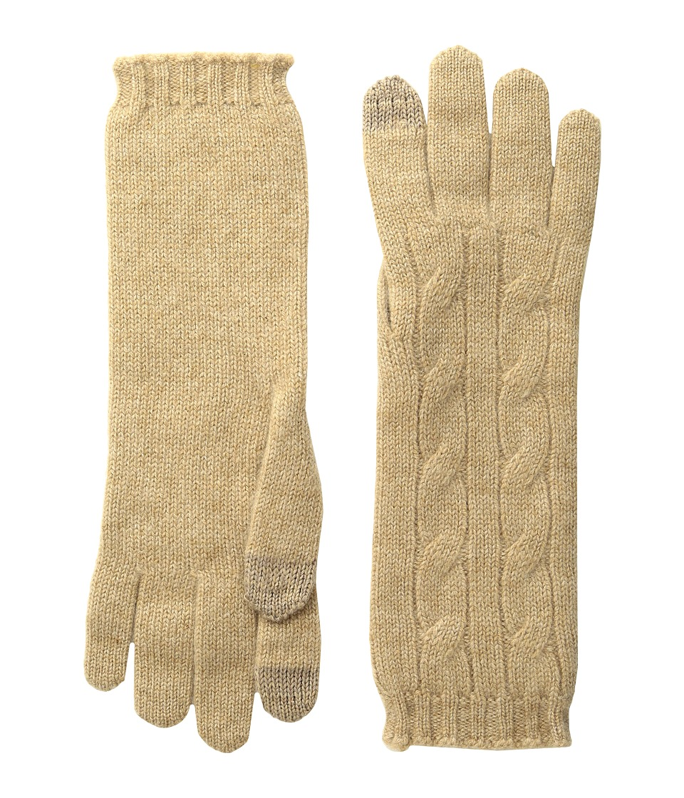 Polo Ralph Lauren Cashmere Cable Touch Gloves (Camel Melange) Extreme Cold Weather Gloves