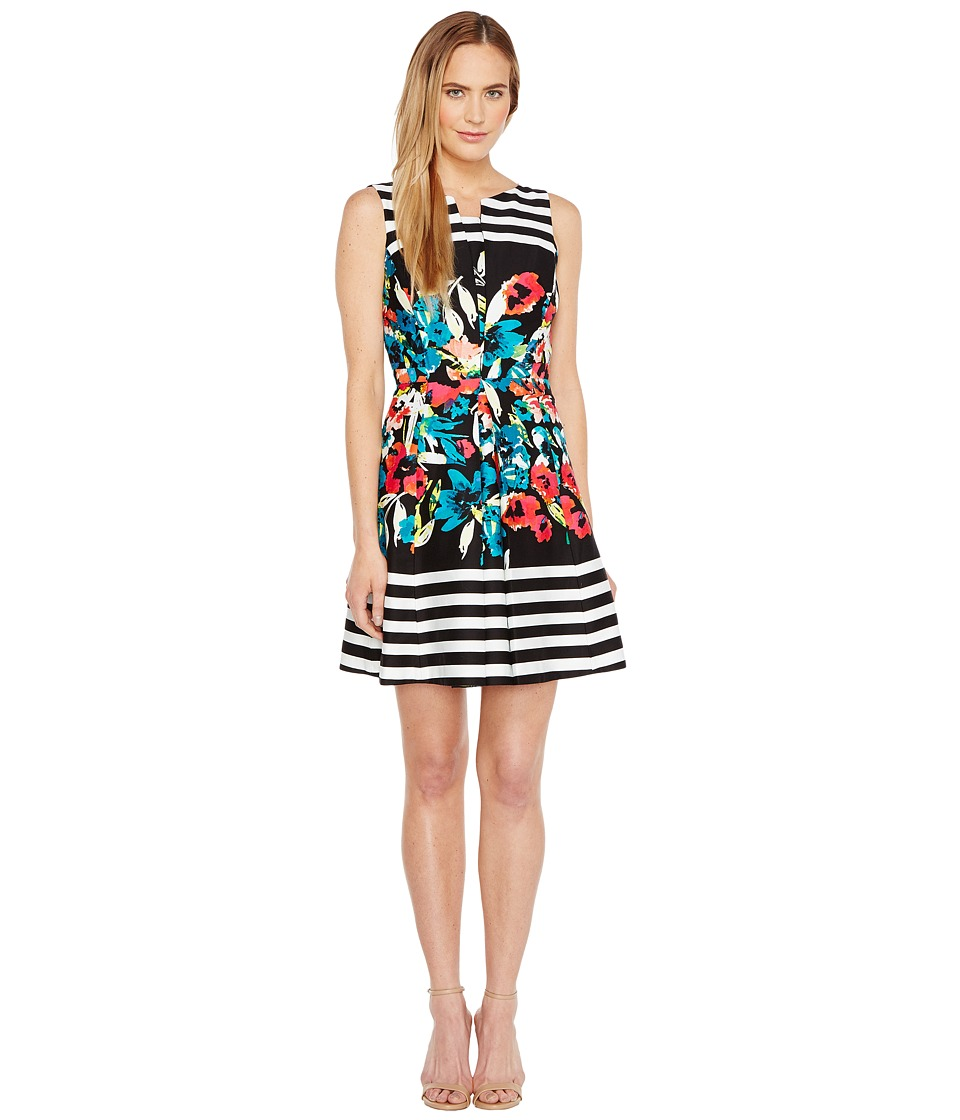 Tahari by ASL Floral Stripe Fit and Flare Dress (Black/Ivory/Poppy) Women