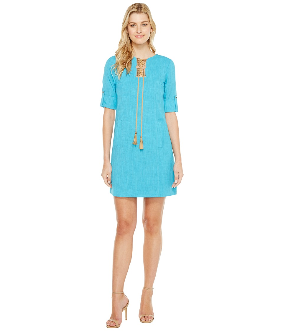 Tahari by ASL Grasscloth Shift Dress (Turquoise) Women