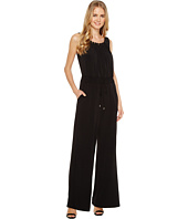 Tahari by ASL - Gold Tone Trim Blouson Jumpsuit