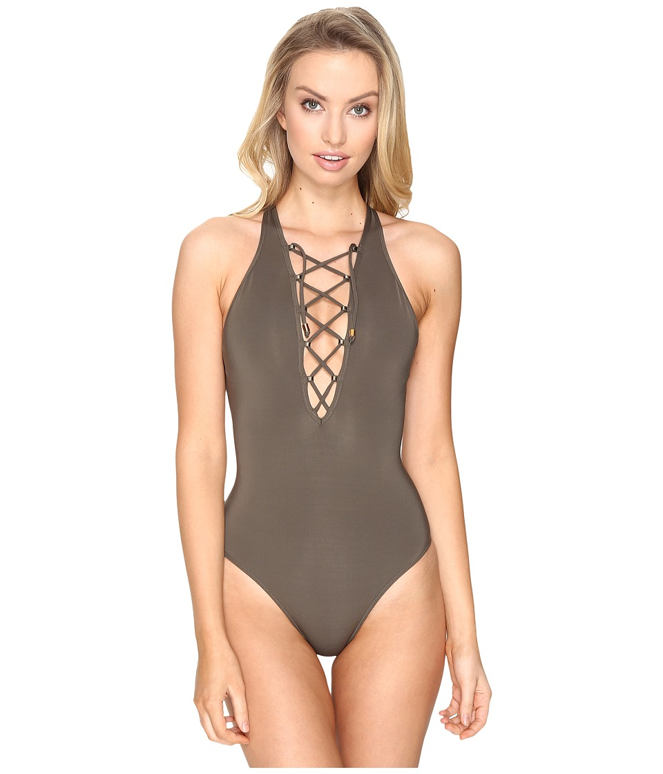 JETS by Jessika Allen - High Neck Plunge Lace-Up Front One