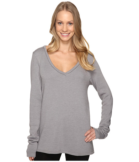 Hard Tail Slouchy V-Neck Pullover - Nickel