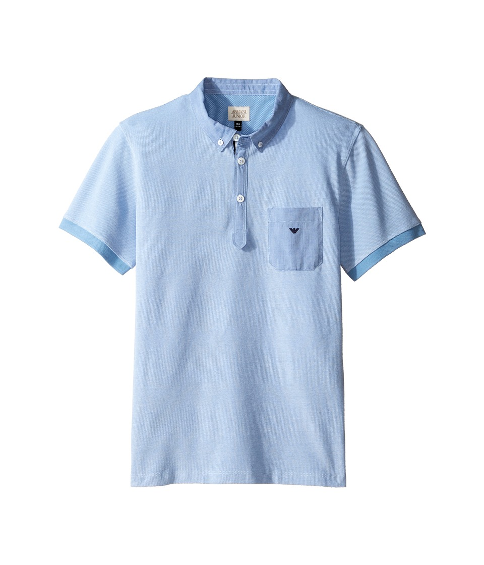 Armani Junior - Pique Polo with Chambray Detail