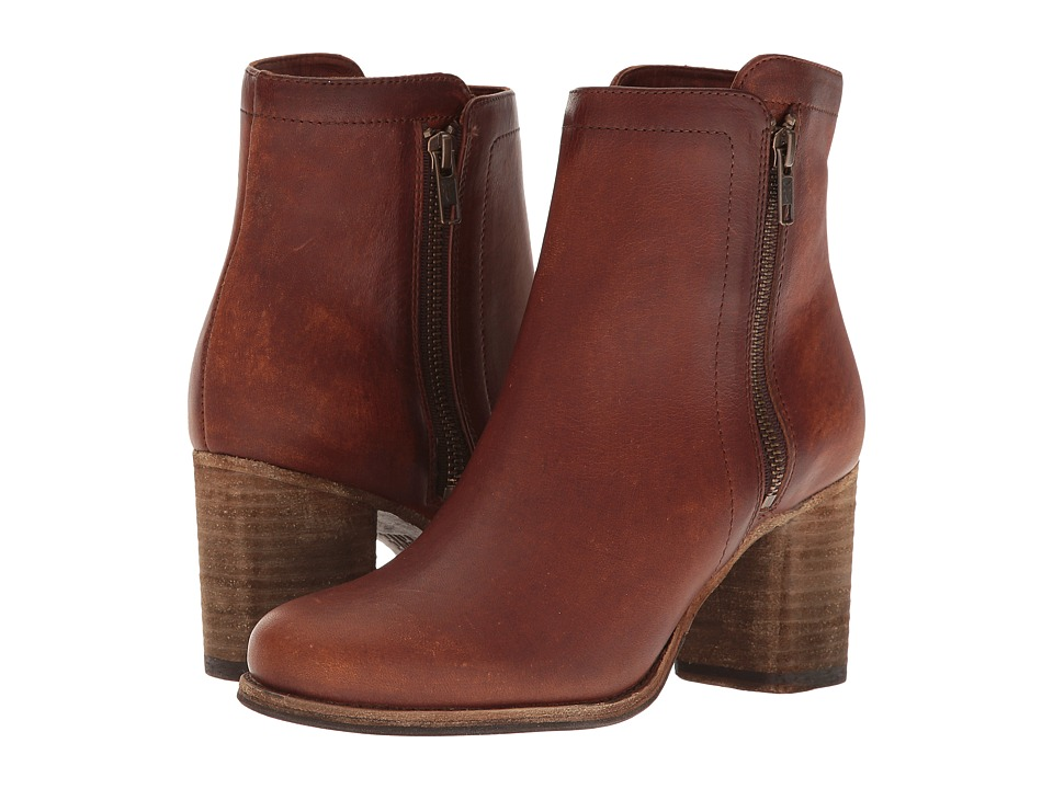 Frye Addie Double Zip (Cognac Soft Italian Nubuck) Women