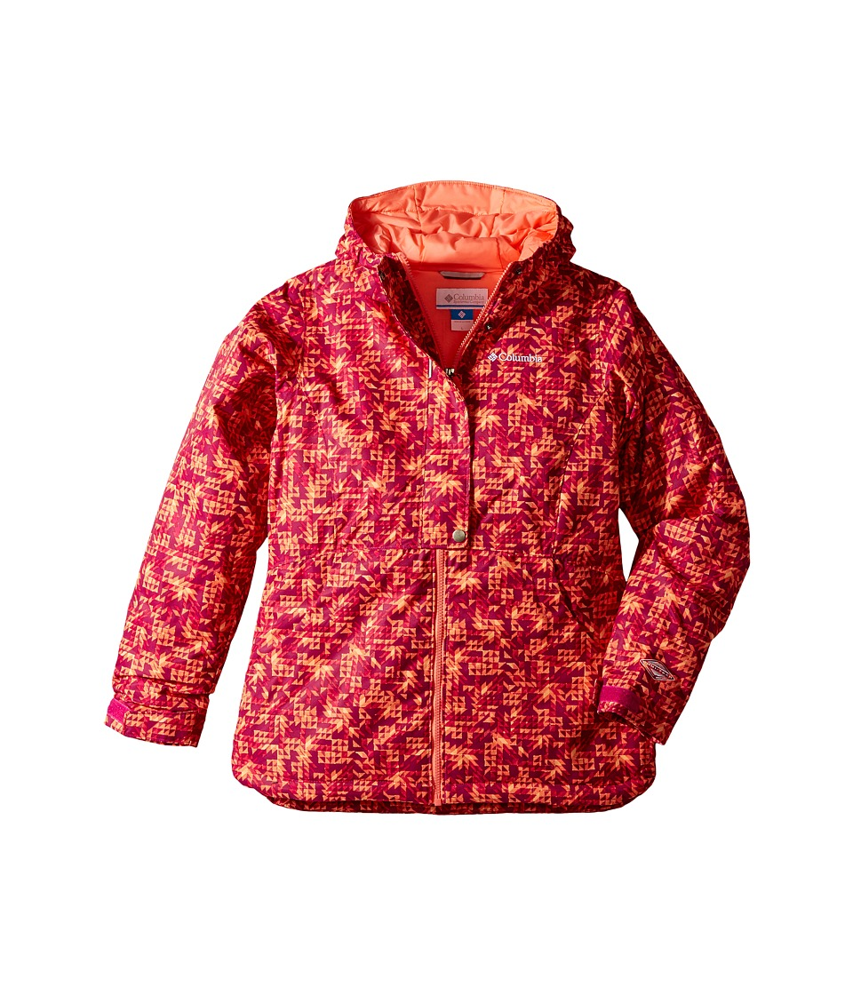 Columbia Kids Snowcation Nation Jacket (Little Kids/Big Kids) (Deep Blush Checkers Print/Hot Coral) Girl