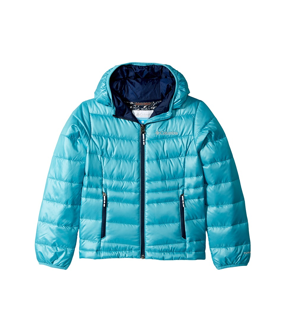 Columbia Kids - Gold 550 TurboDowntm Hooded Down Jacket (Little Kids/Big Kids) (Pacific Rim/Collegiate Navy) Girls Coat