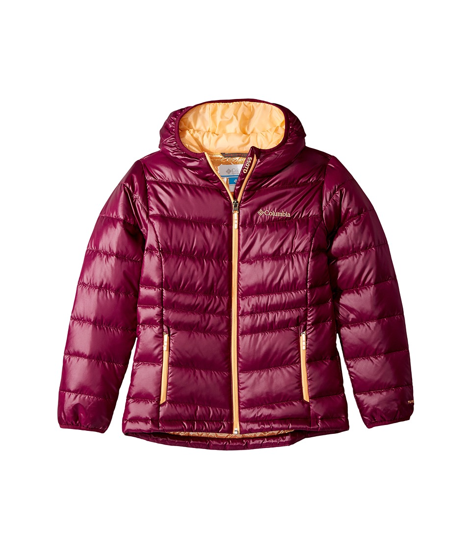 Columbia Kids Gold 550 TurboDowntm Hooded Down Jacket (Little Kids/Big Kids) (Dark Raspberry/Peach) Girl