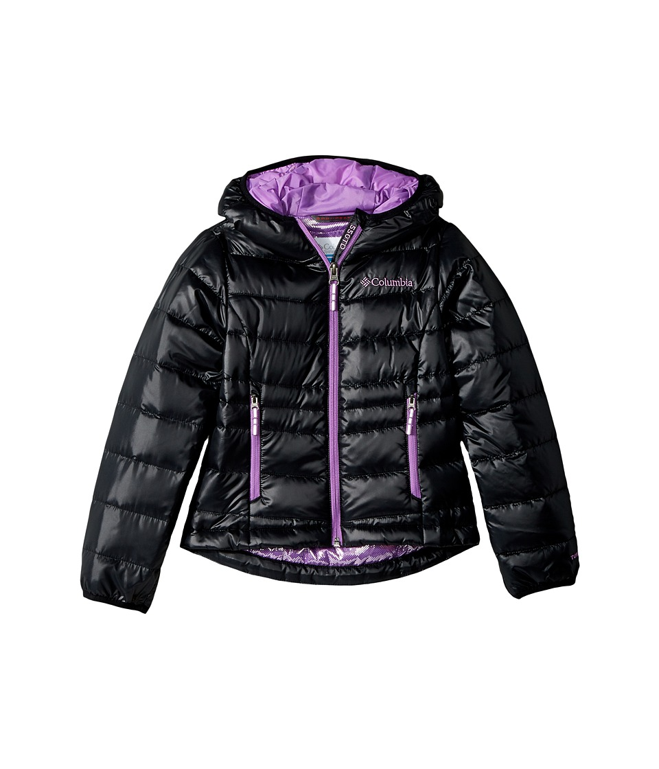 Columbia Kids Gold 550 TurboDowntm Hooded Down Jacket (Little Kids/Big Kids) (Black/Crown Jewel) Girl