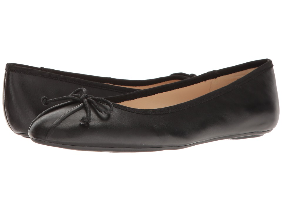 1950s Style Shoes Nine West Batoka Ballerina Flat Black Leather Womens Shoes $59.00 AT vintagedancer.com