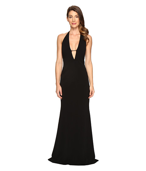 Badgley Mischka Stretch Crepe Deep V Gown