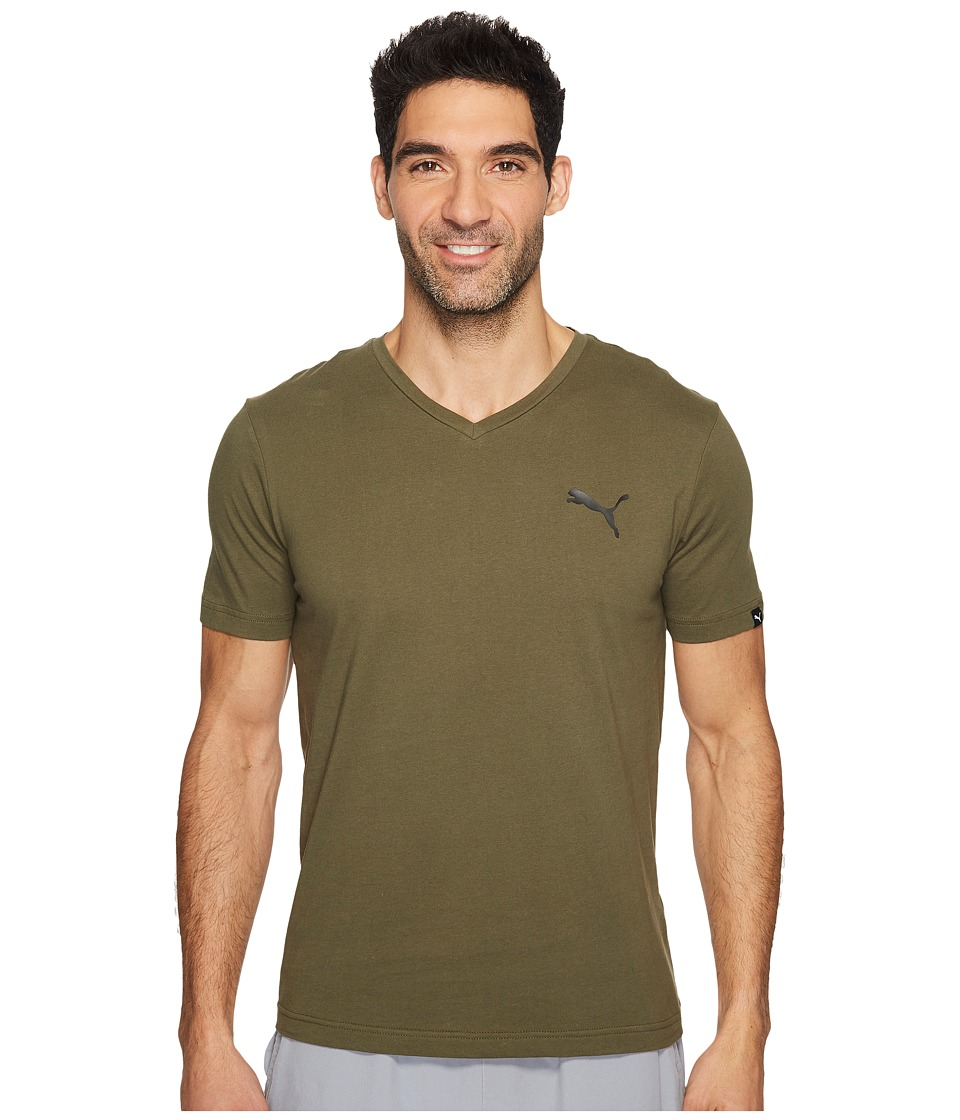 PUMA Iconic V-Neck Tee (Olive Night) Men