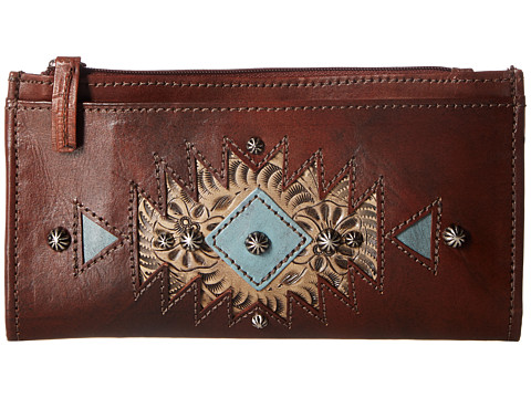 American West Folded Wallet - Chestnut Brown/Sand/Light Turquoise