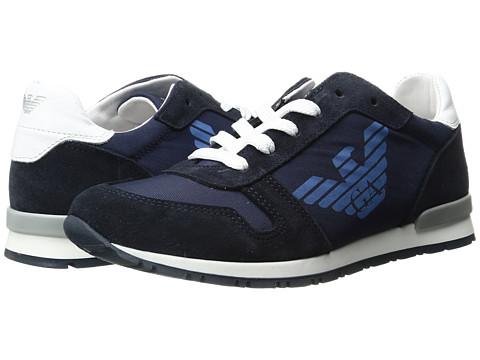 Armani Junior Logo Sneaker (Little Kid/Big Kid) - Solid Blue Navy