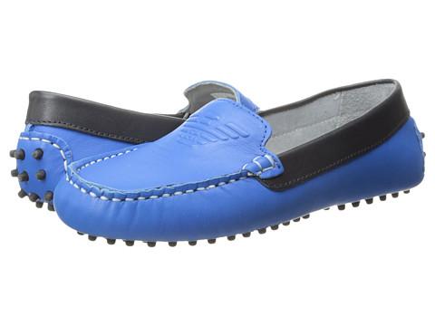 Armani Junior Leather Driving Shoe (Little Kid/Big Kid) - Blue