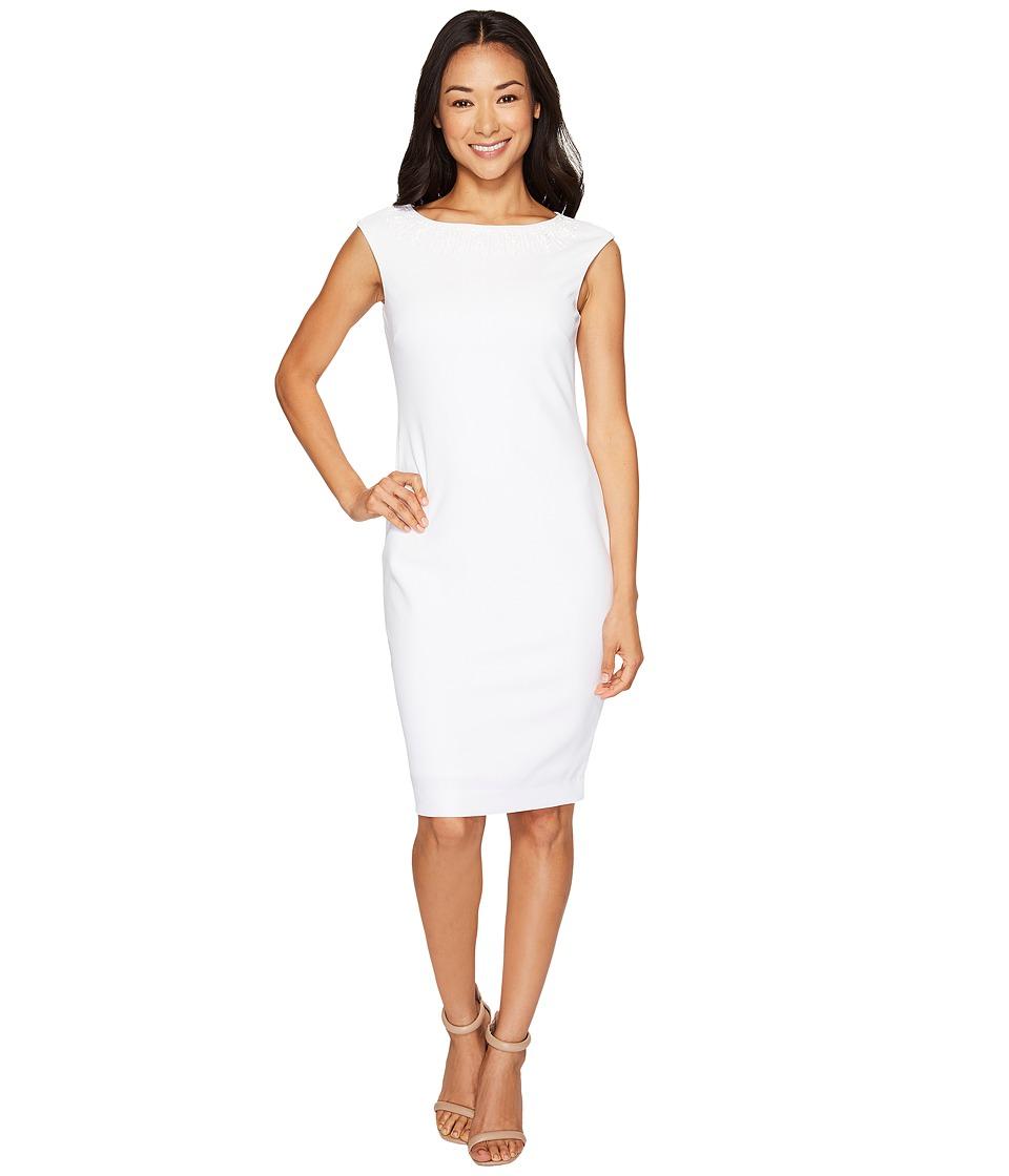 Tahari by ASL Petite Petite Scuba Crepe Sheath Dress (White) Women