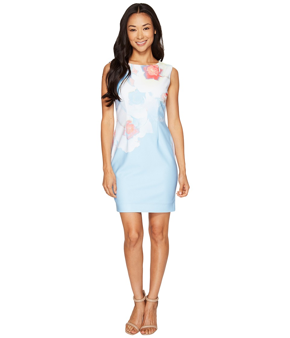 Tahari by ASL Petite Petite Pique Abstract Floral Sheath (Sky/White/Coral) Women